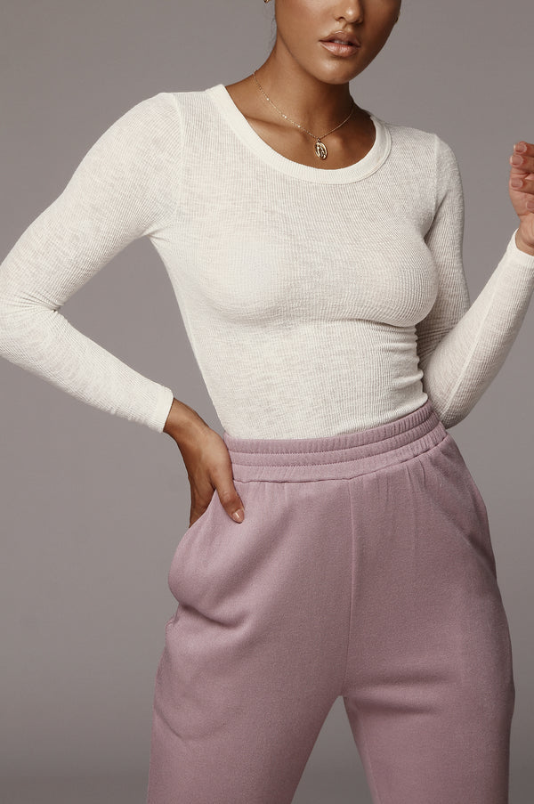 Ivory Brittney Ribbed Long Sleeve Top