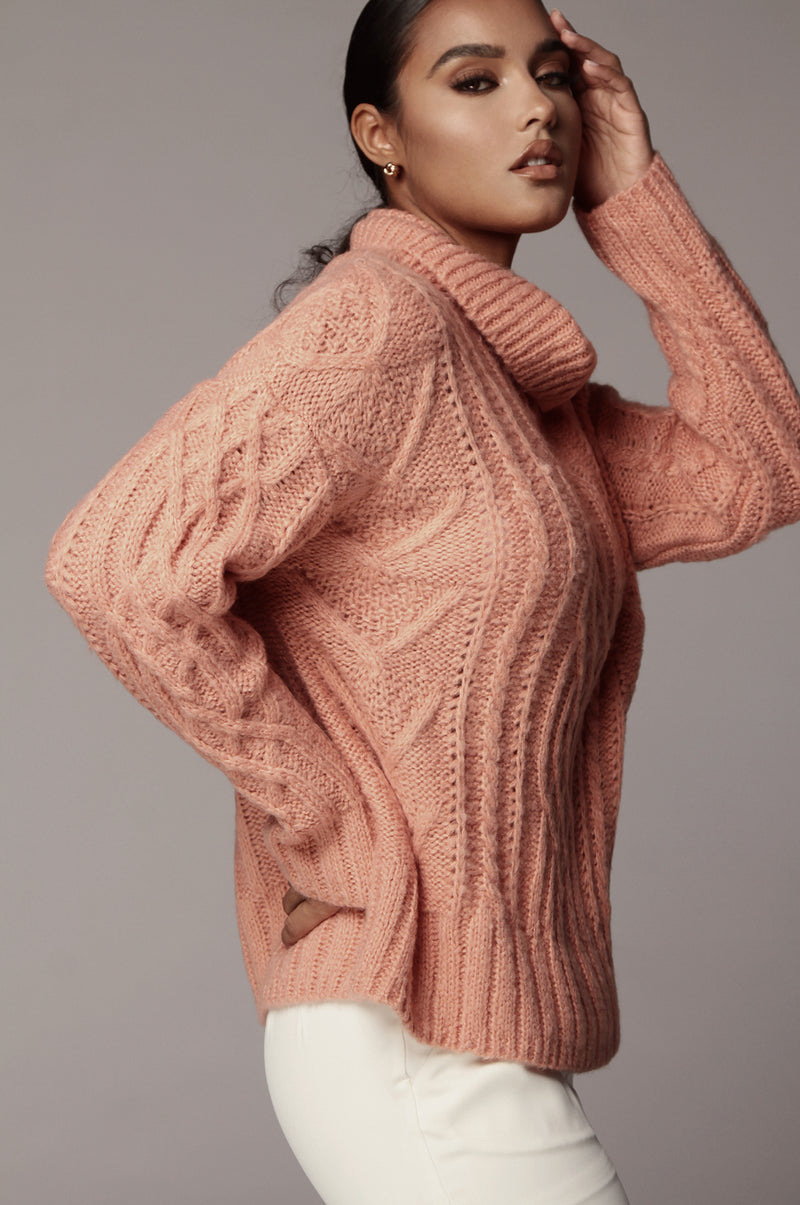 Coral Romie Cable Knit Sweater
