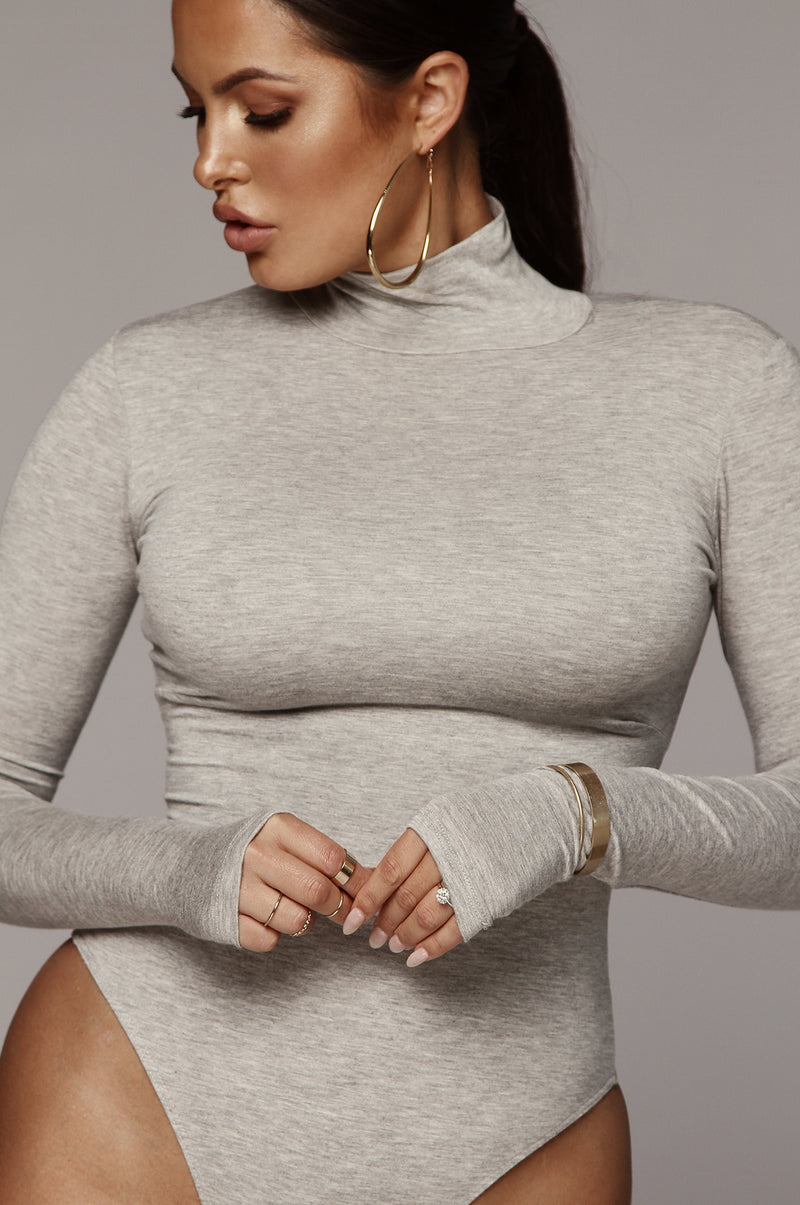 Grey Luna Mock Neck Bodysuit