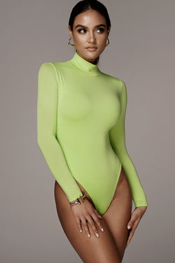 JLUXBASIX LIME LUNA MOCK NECK BODYSUIT