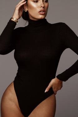 Black Eniko Mock Neck Bodysuit