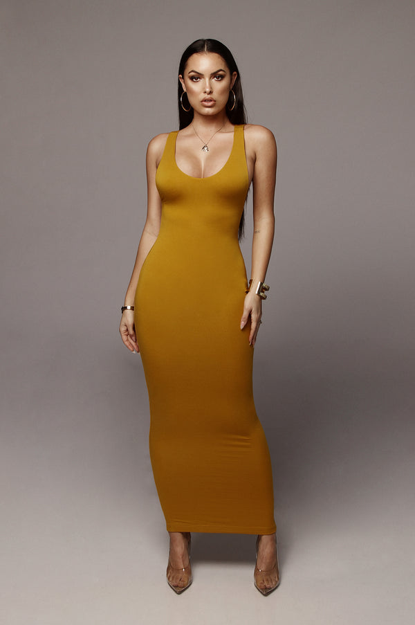 Mustard Perfection JLUXBASIX Low Side Dress