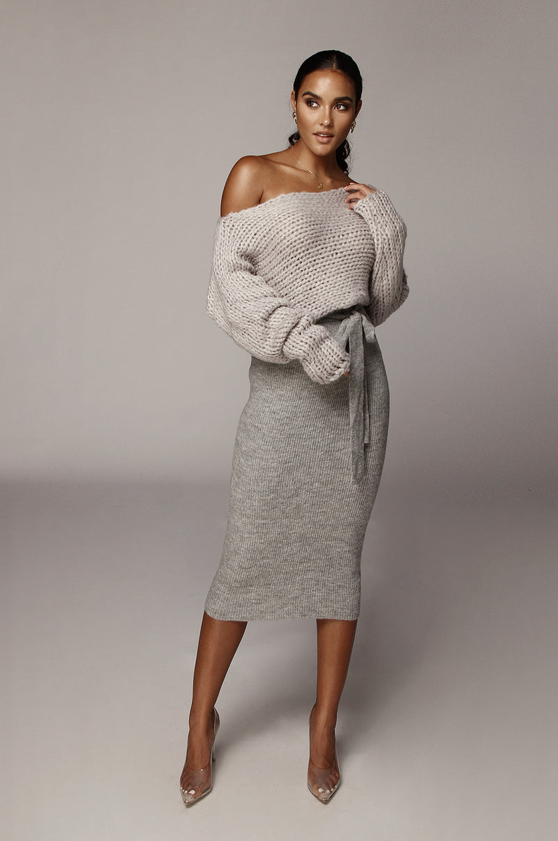 Grey Madeleine Sweater Skirt
