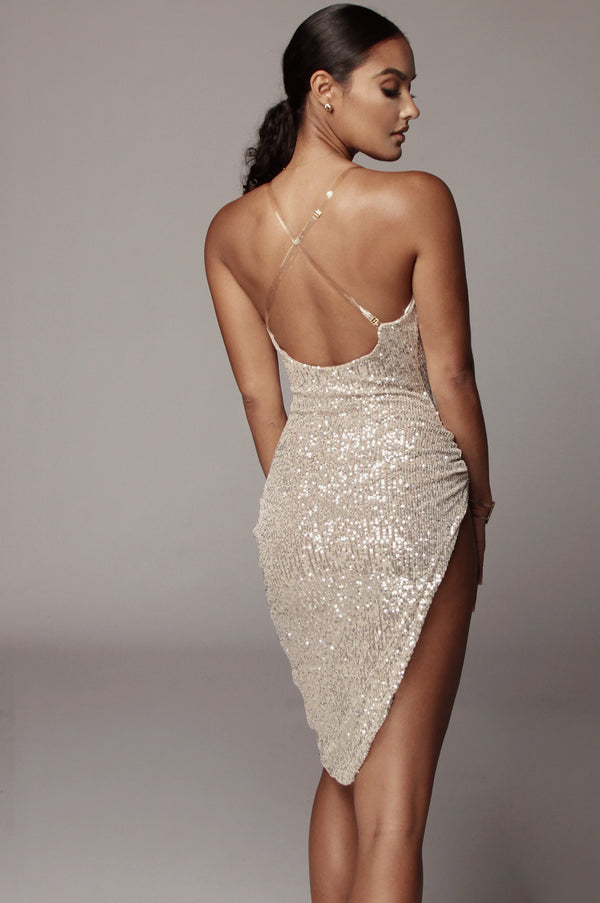 Sequin Cowl Neck Dress