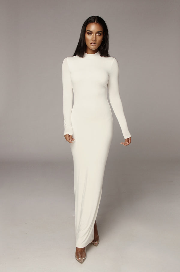 Ivory Cheyanne Mock Neck Dress