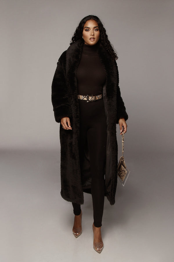 Black Yvenna Teddy Coat