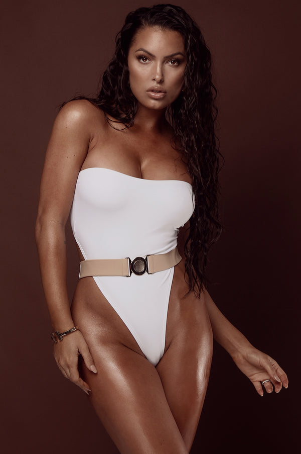 White Amara Belted One Piece