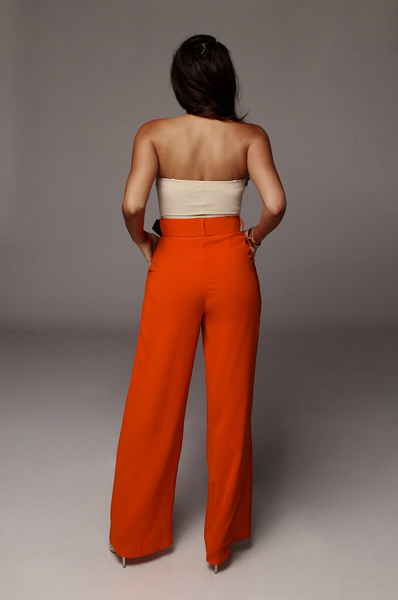 Orange Scotie Wide Leg Pants