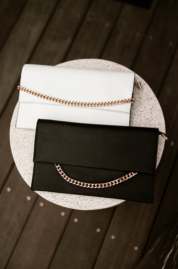 Black Chained Envelope Clutch
