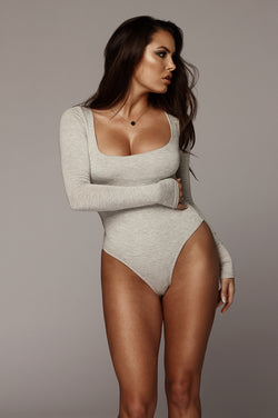 Grey Bethie Scoop Long Sleeve Bodysuit