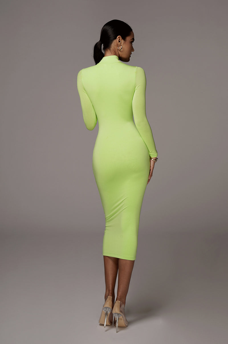 Lime Janessa Double lined Turtleneck Dress