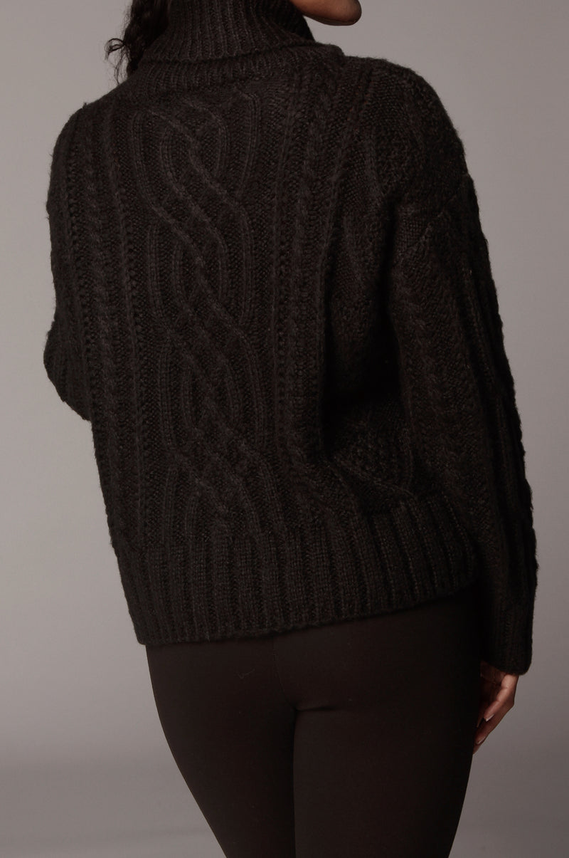 Black Romie Cable Knit Sweater