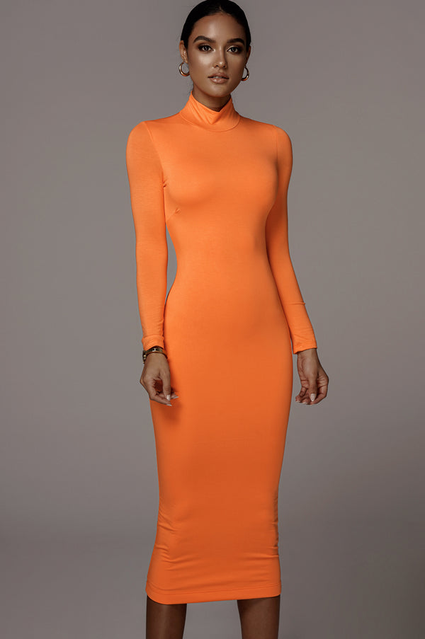 Orange Janessa Double lined Turtleneck Dress