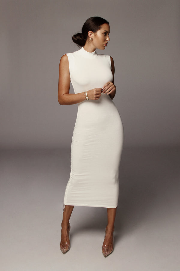 White Sporty Spice Scrunch Dress