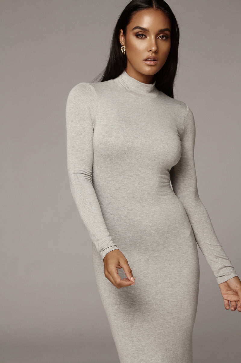 Grey Cheyanne Mock Neck Dress
