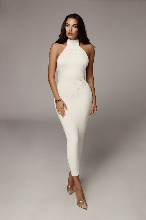 Ivory Nela Mock Neck Basix Dress
