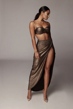 Bronze Fatima High Slit Skirt