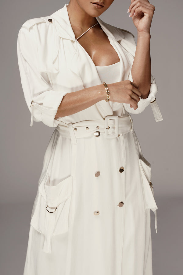 White Denim Irina Chambray Coat