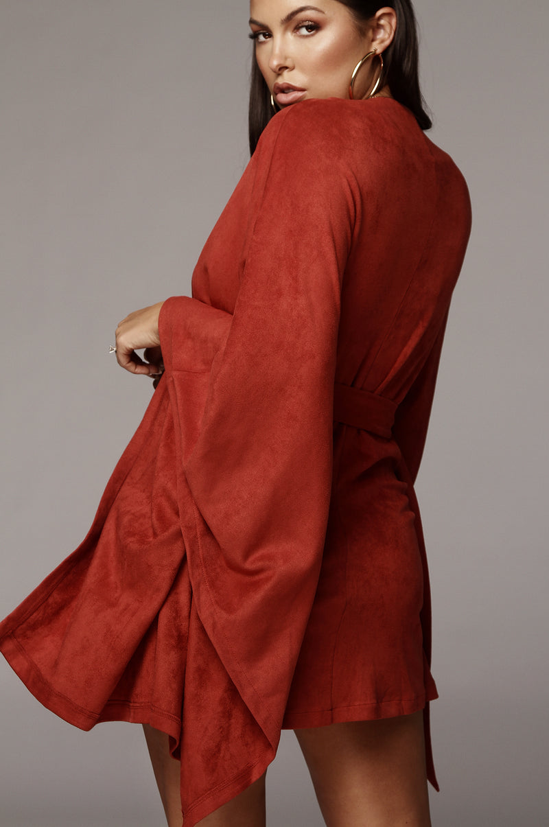 Red Clay Suede Belted Cape