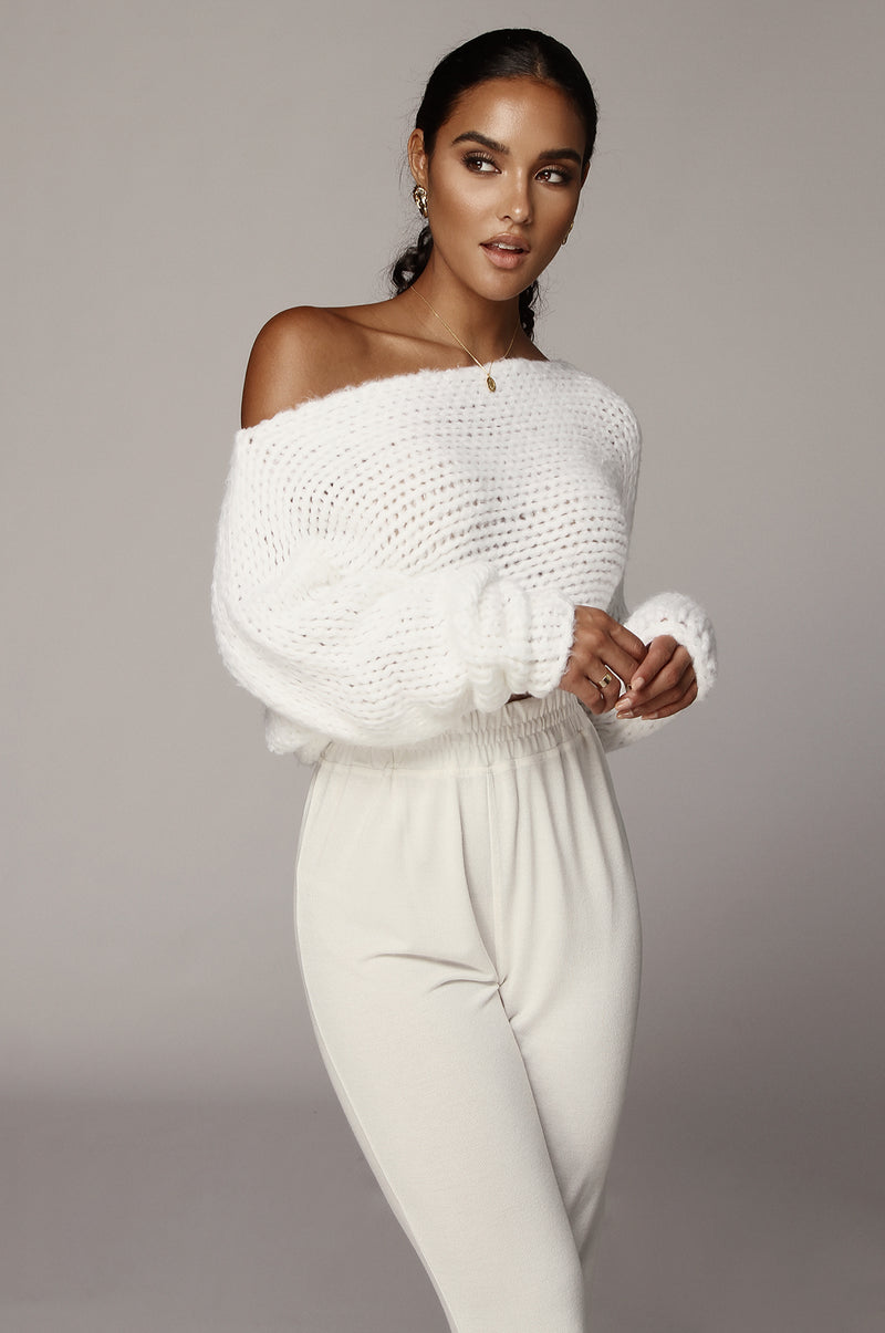 Ivory Yoko Off the Shoulder Sweater Top