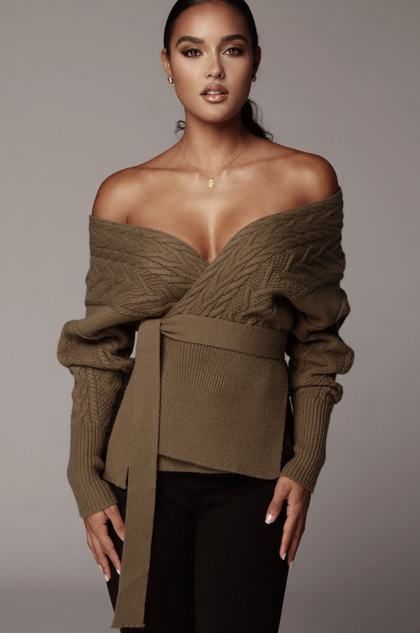 Olive Armali Cable Sweater Top