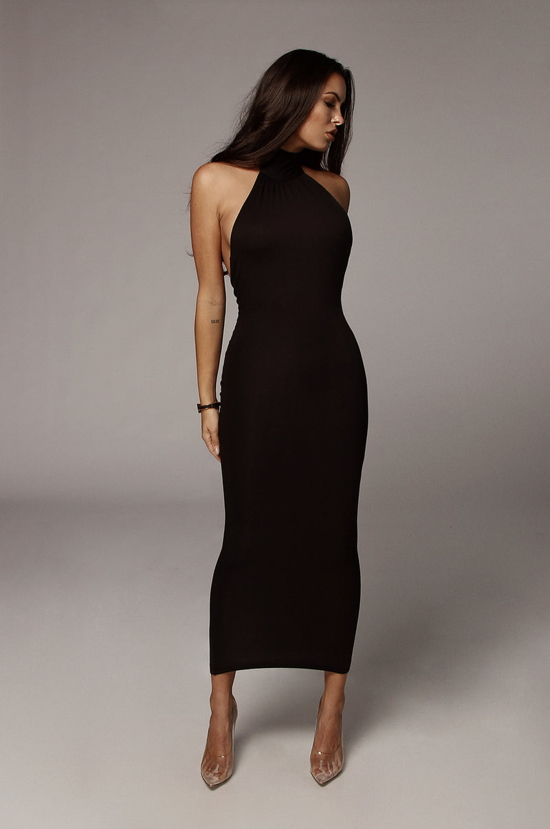 Black Nela Mock Neck Basix Dress