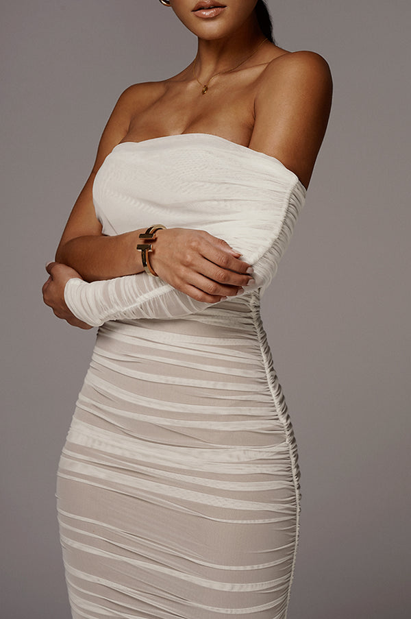 White Denisse Ruched Dress