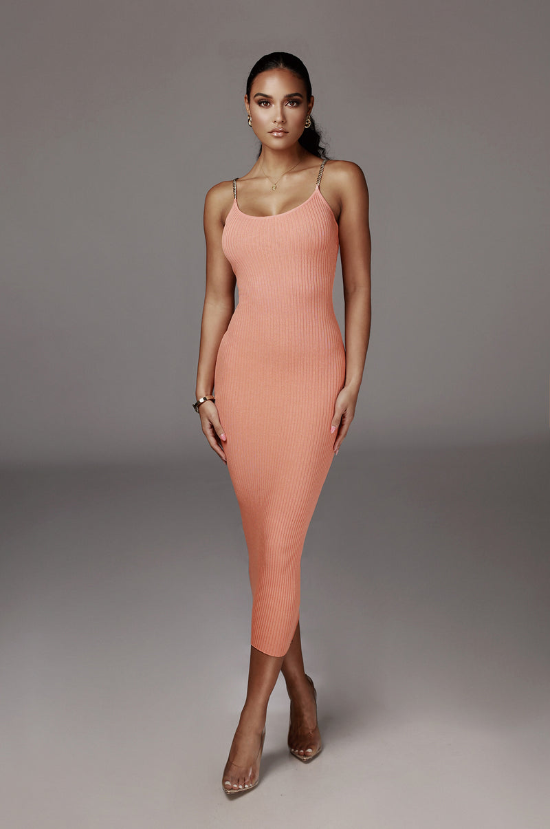 Peach Two Chains Ribbed Dress