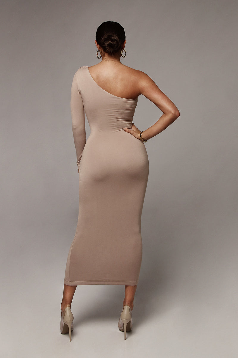 Taupe JLUXBASIX Em One Shoulder Basic Dress