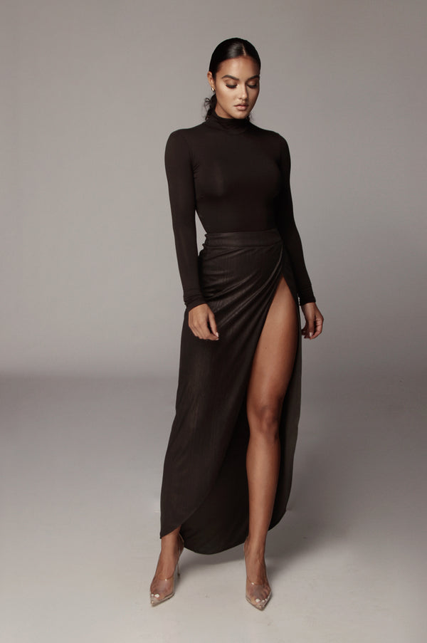 Black Fatima High Slit Skirt
