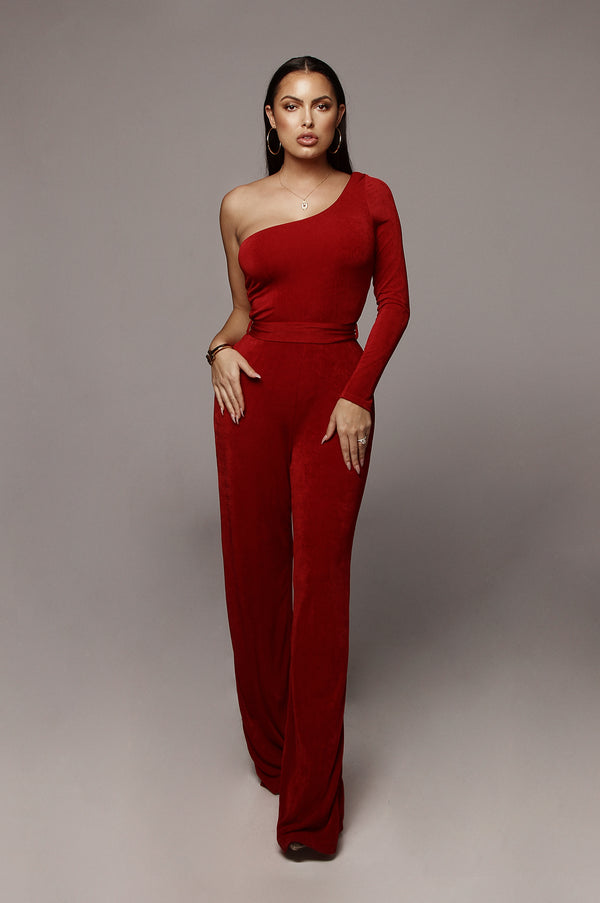 b46b014c2c93 Red Johanna Bare Shoulder Jumpsuit ...