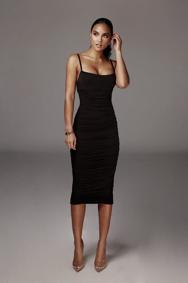 Black Wynter Ruched Dress