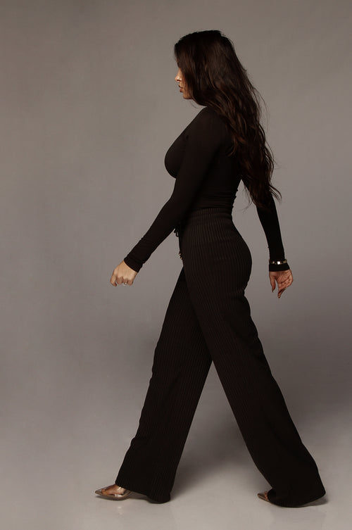 Black Kaycee Ribbed Pants
