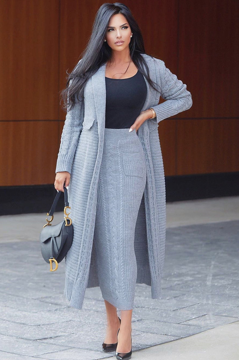 Grey Missy Cable Sweater Midi Skirt