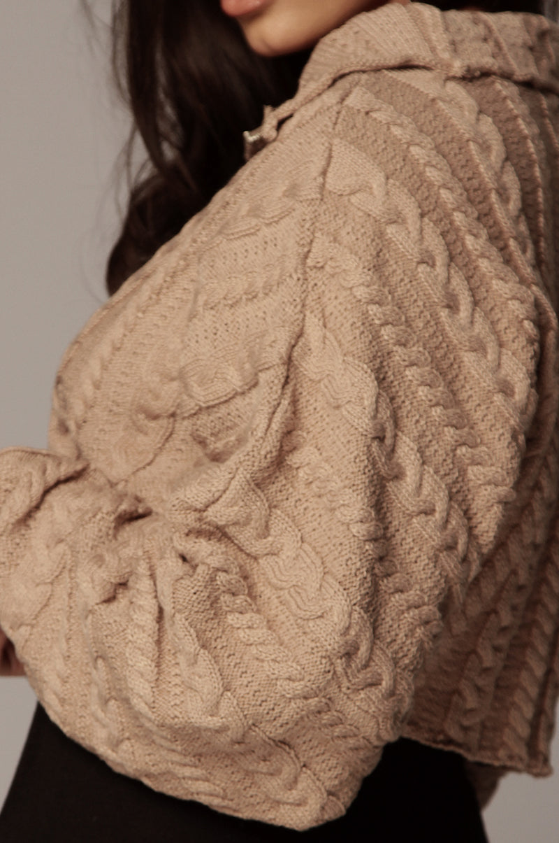 Taupe Aleksa Cable Knit Pullover