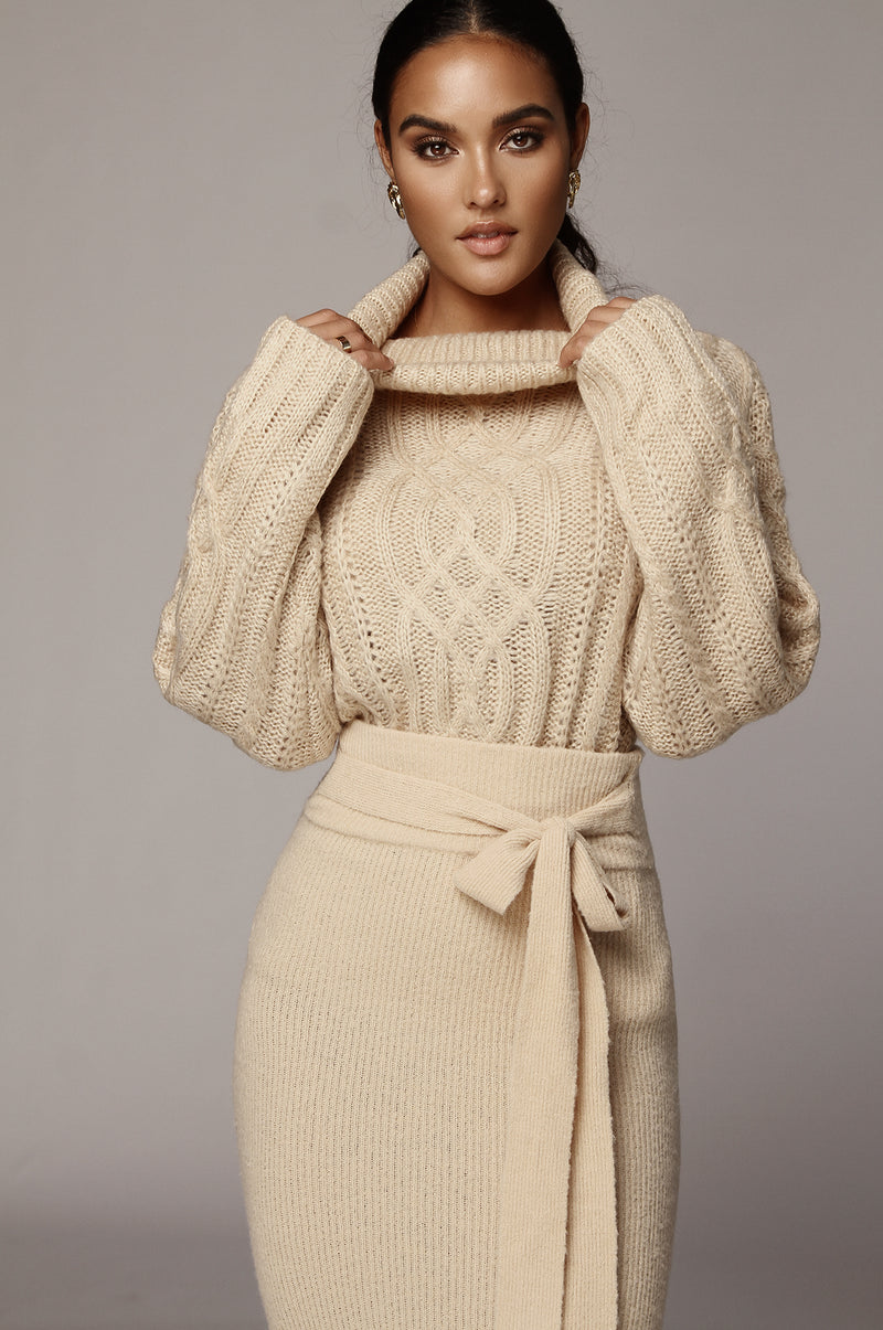 Oatmeal Romie Cable Knit Sweater