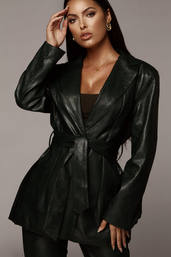 Forest Green Boxy Faux Leather Blazer