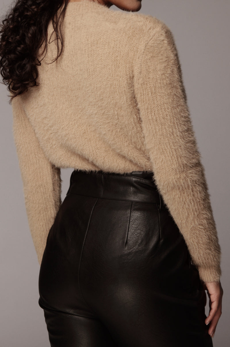 Taupe Amelie Fuzzy Sweater