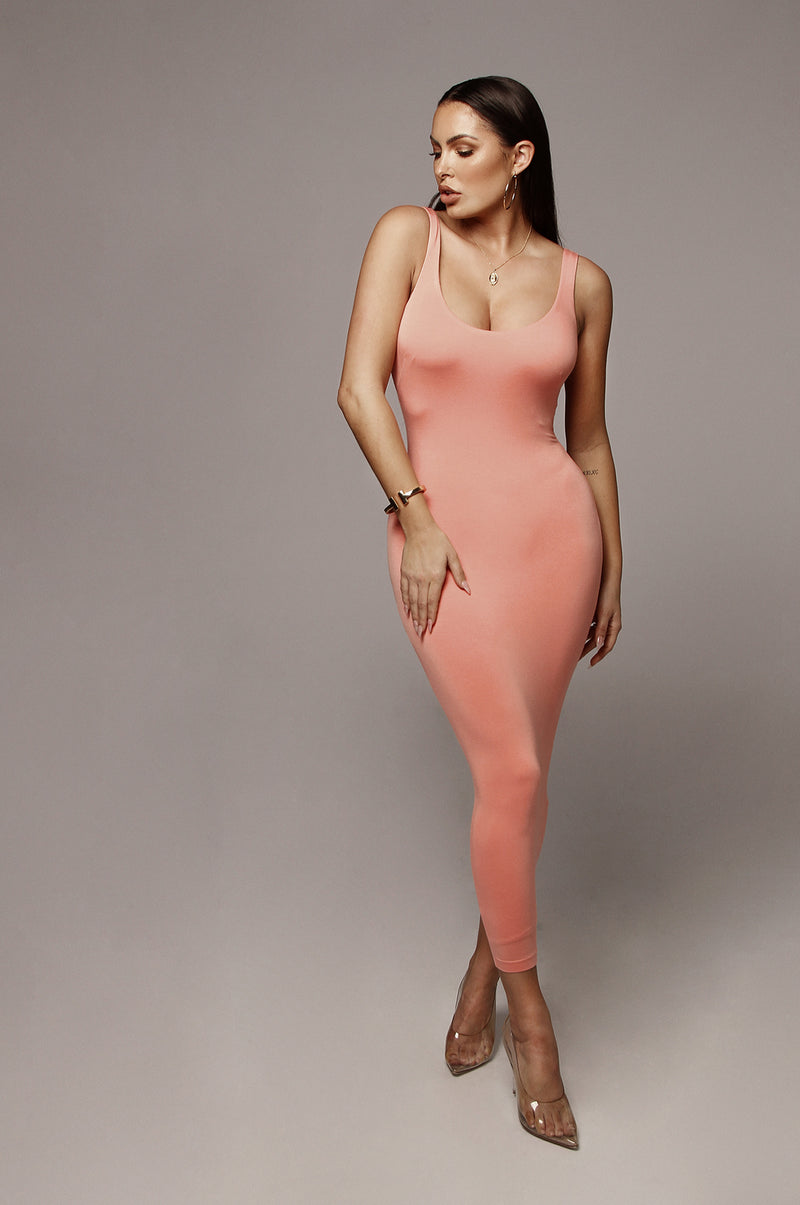Peach Rachel JLUXBASIX Midi dress