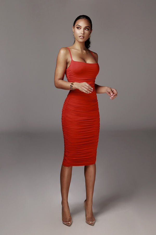 Red Wynter JLUXBASIX Ruched Dress