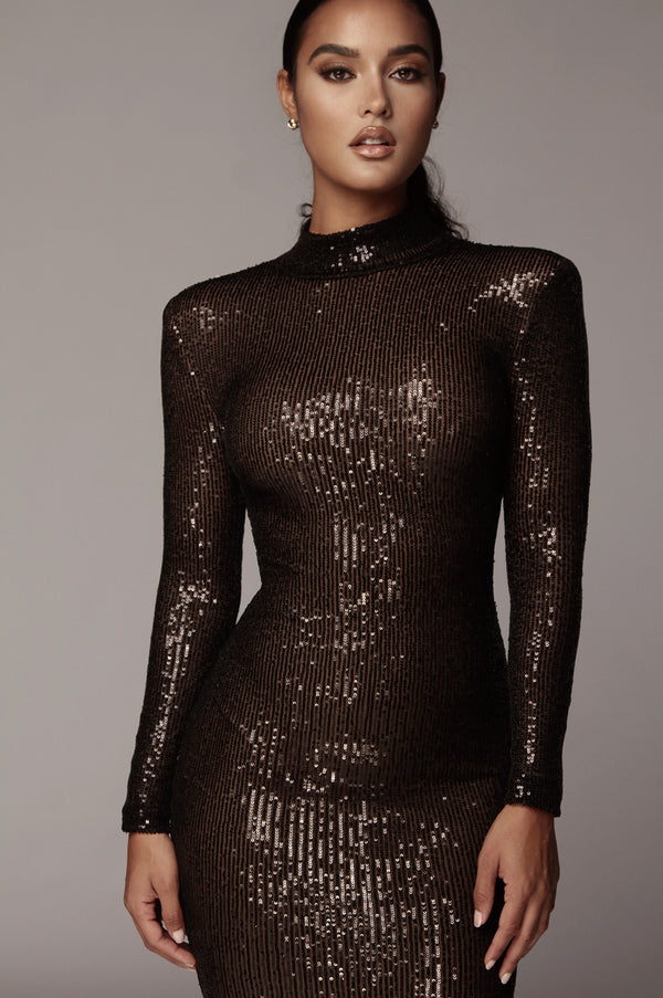 Black Galore Sequin High Neck Dress