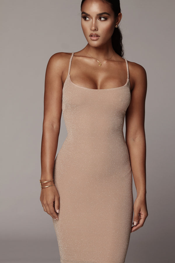 Beige Nimah Sparkle Bodycon Dress