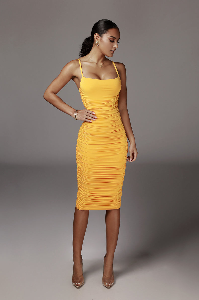 Mustard Wynter Ruched Dress