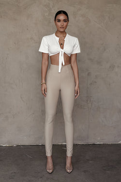 TAUPE ULTRA HIGH WAISTED SKINNY PANTS