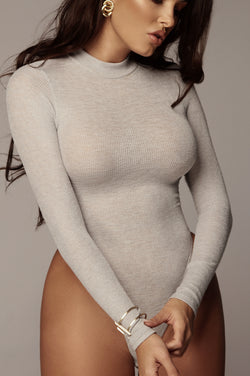 GREY KIMBER HIGH NECK BODYSUIT