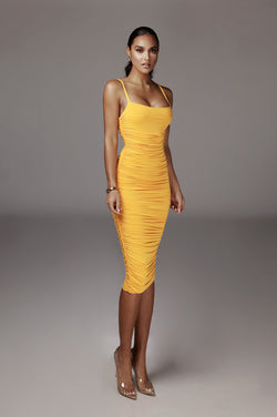 Mustard Wynter JLUXBASIX Ruched Dress