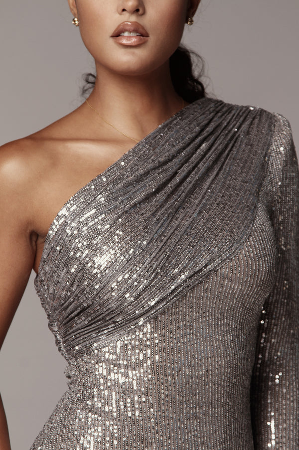 Silver Lure Gathered One Shoulder Dress