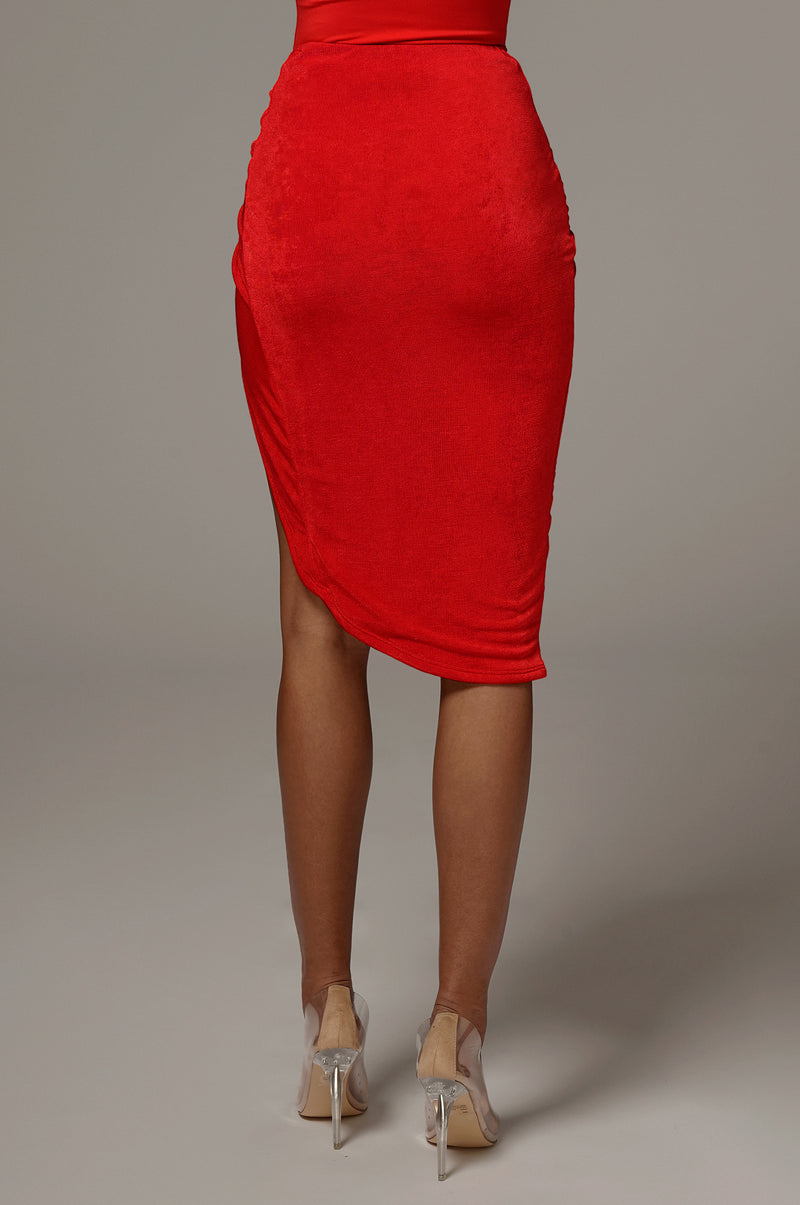 Red Namya Knotted Skirt