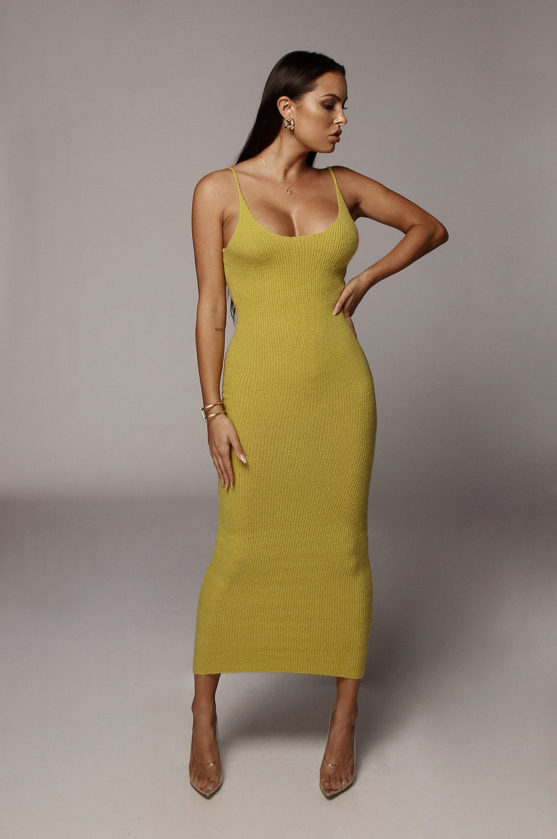 Chartreuse Belinda Tank Sweater Dress