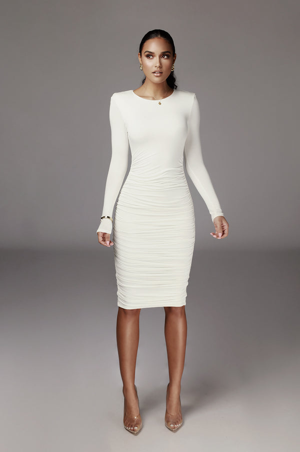 Ivory Blythe Ruched Body Dress
